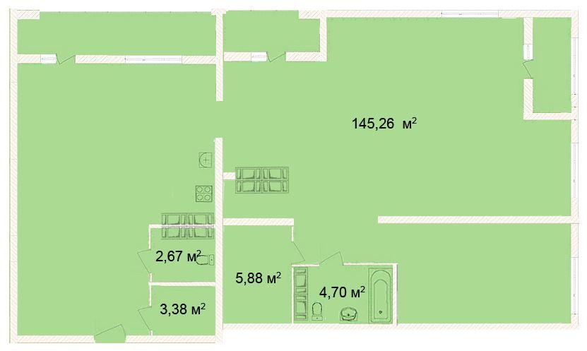 Планировка Четырёхкомнатная квартира площадью 145.26 кв.м в ЖК «Ленинградская симфония»