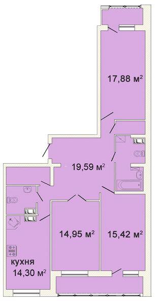 Планировка Трёхкомнатная квартира площадью 105.2 кв.м в ЖК «Ленинградская симфония»