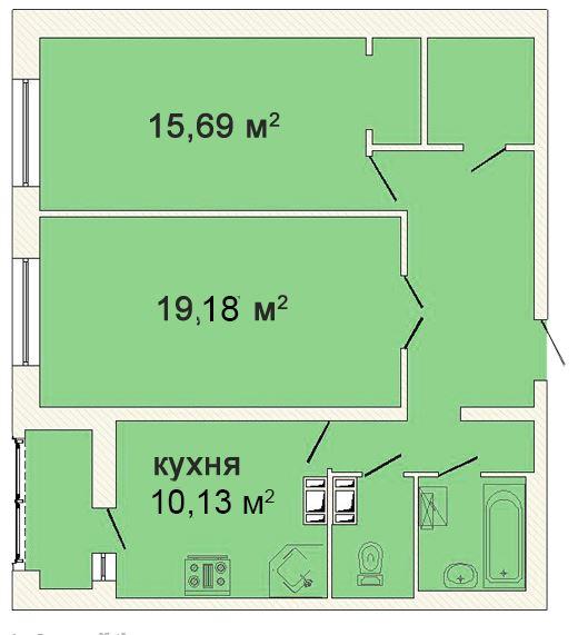 Планировка Двухкомнатная квартира площадью 70.02 кв.м в ЖК «Ленинградская симфония»