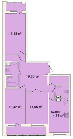 Планировка Трёхкомнатная квартира площадью 105.06 кв.м в ЖК «Ленинградская симфония»