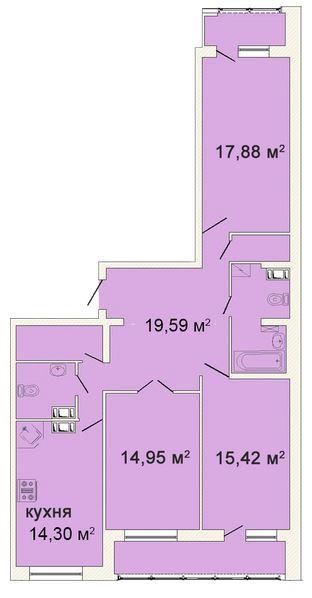 Планировка Трёхкомнатная квартира площадью 104.24 кв.м в ЖК «Ленинградская симфония»