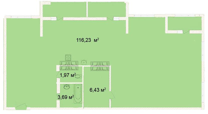 Планировка Студия площадью 116.23 кв.м в ЖК «Ленинградская симфония»