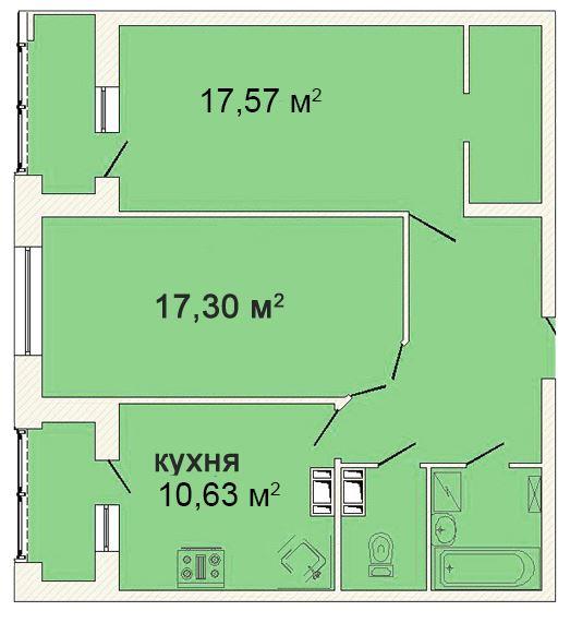 Планировка Двухкомнатная квартира площадью 69.89 кв.м в ЖК «Ленинградская симфония»