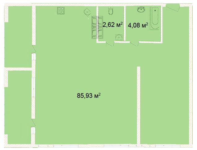 Планировка Студия площадью 85.93 кв.м в ЖК «Ленинградская симфония»