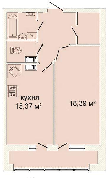 Планировка Однокомнатная квартира площадью 54.71 кв.м в ЖК «Ленинградская симфония»